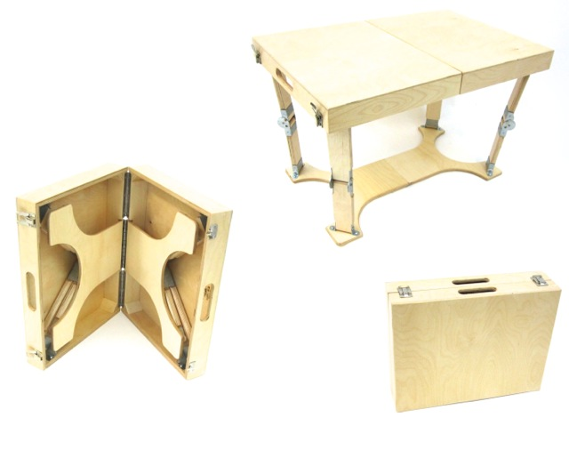 Natural Birch Folding Coffee Table Spiderlegs